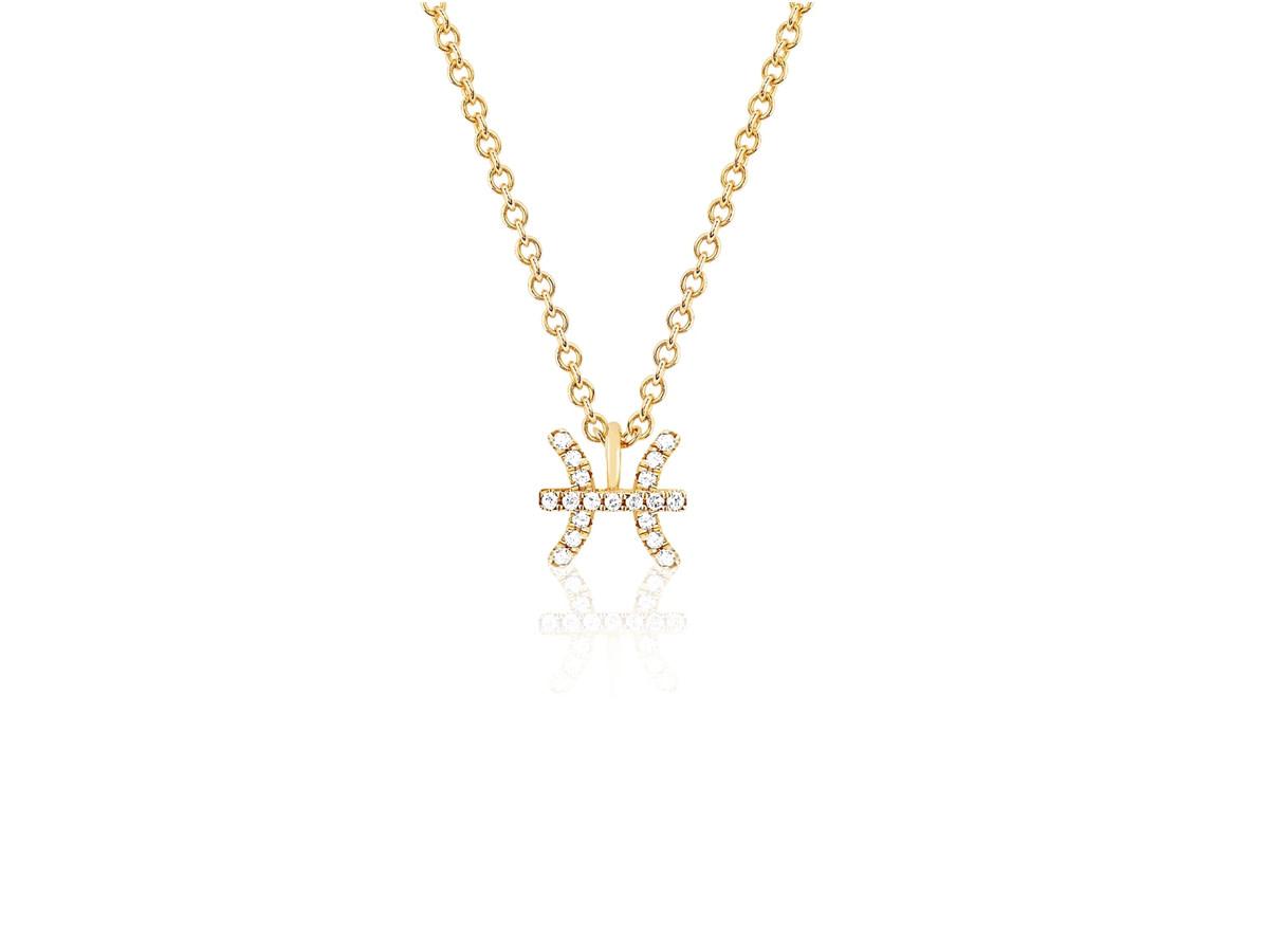 EF Collection Diamond Zodiac 'Pisces' Yellow Gold Pendant