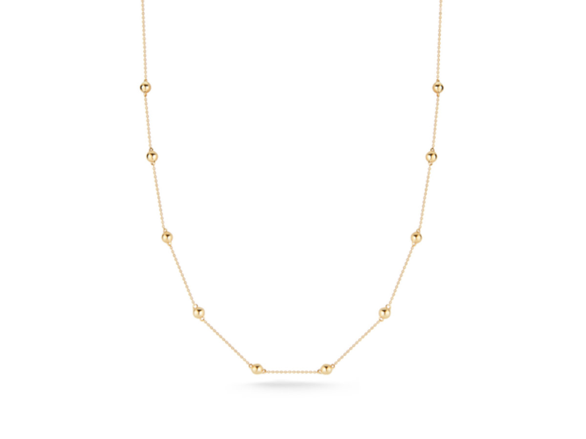 Dana Rebecca Poppy Rae Pebble Station Yellow Gold Necklace