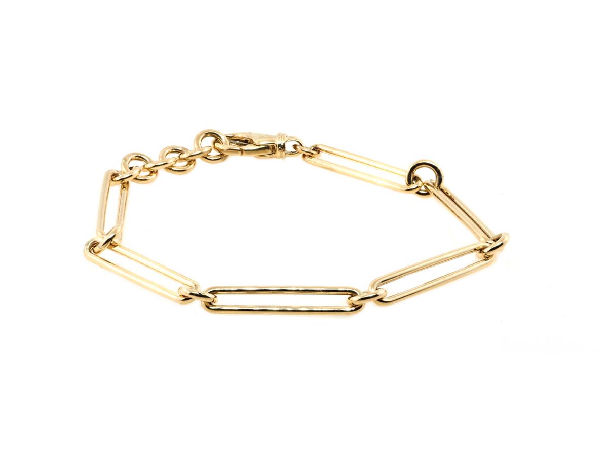 Trabert Goldsmiths Long Paperclip Yellow Gold Bracelet