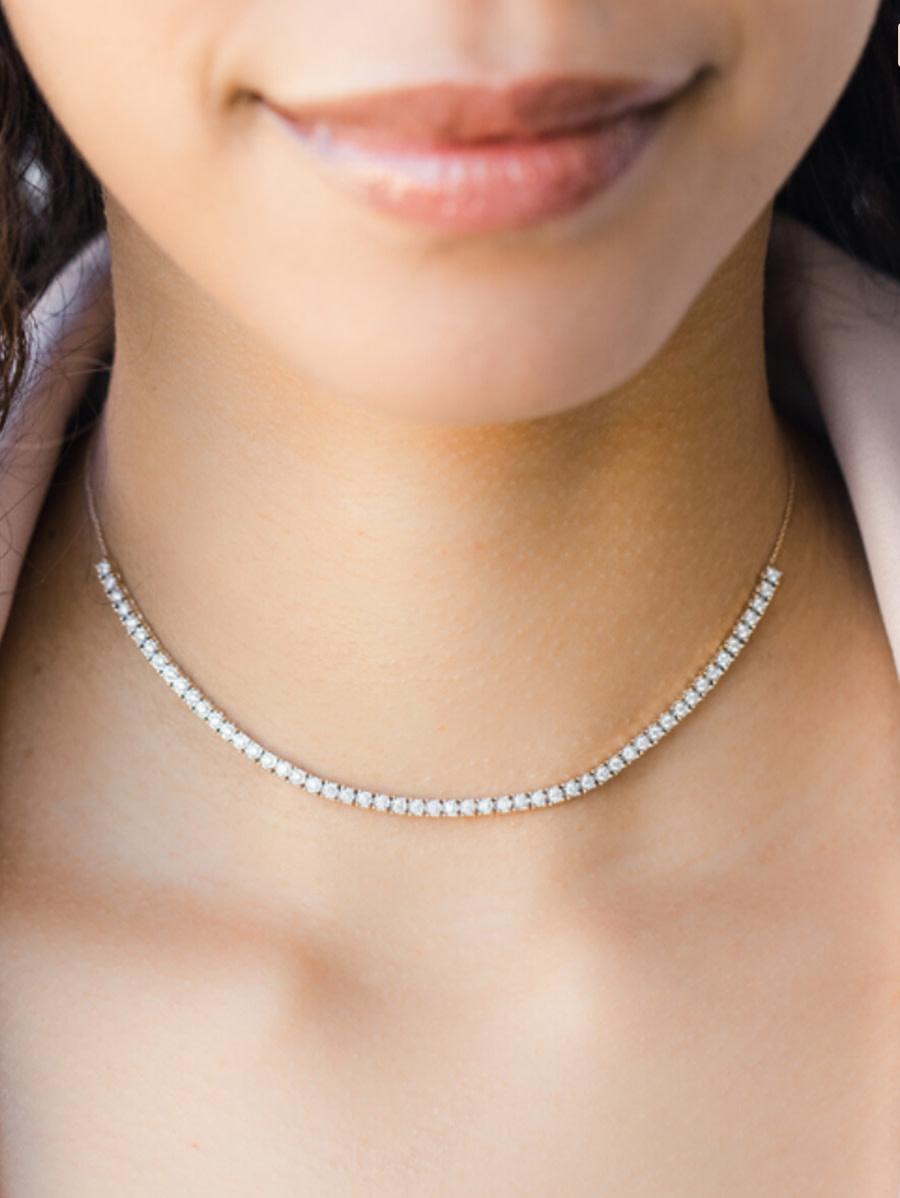 Dana Rebecca Ava Bea Diamond Tennis White Gold  Necklace