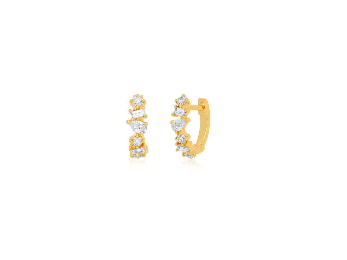 EF Collection Multi Faceted Diamond Yellow Gold Huggie Earrings