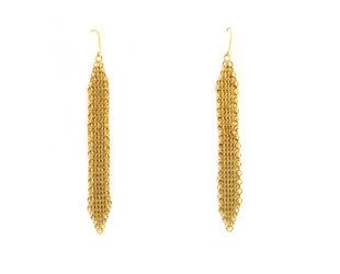 Trabert Goldsmiths Chain Mail Long Yellow Gold Earrings E3147