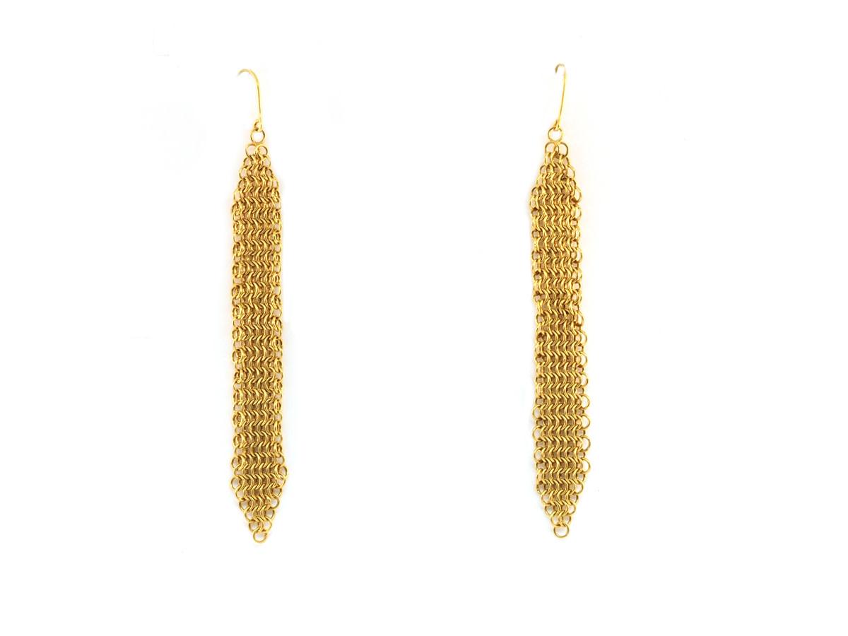 Trabert Goldsmiths Chain Mail Long Yellow Gold Earrings
