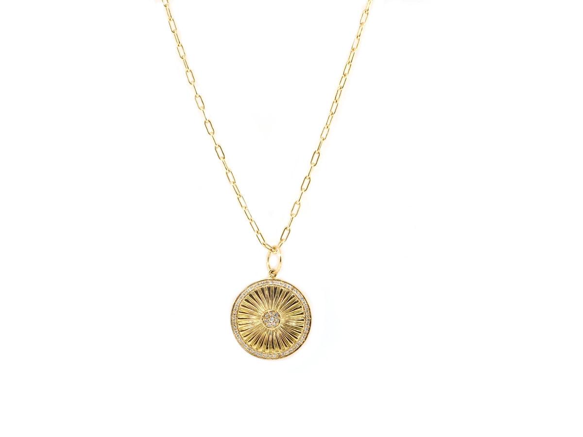 Trabert Goldsmiths Diamond Sunburst Yellow Gold Pendant