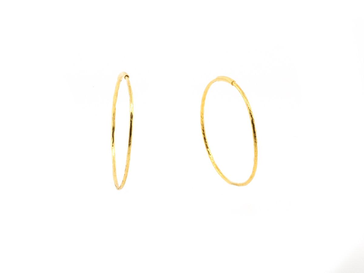 Trabert Goldsmiths Yellow Gold Medium Hammered Hoops