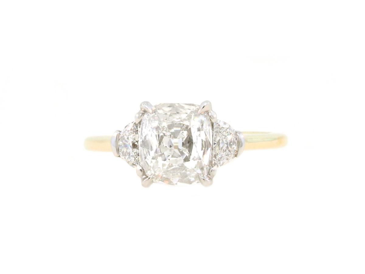 Trabert Goldsmiths 1.27ct FVVS1 Cushion Diamond Trinity Ring