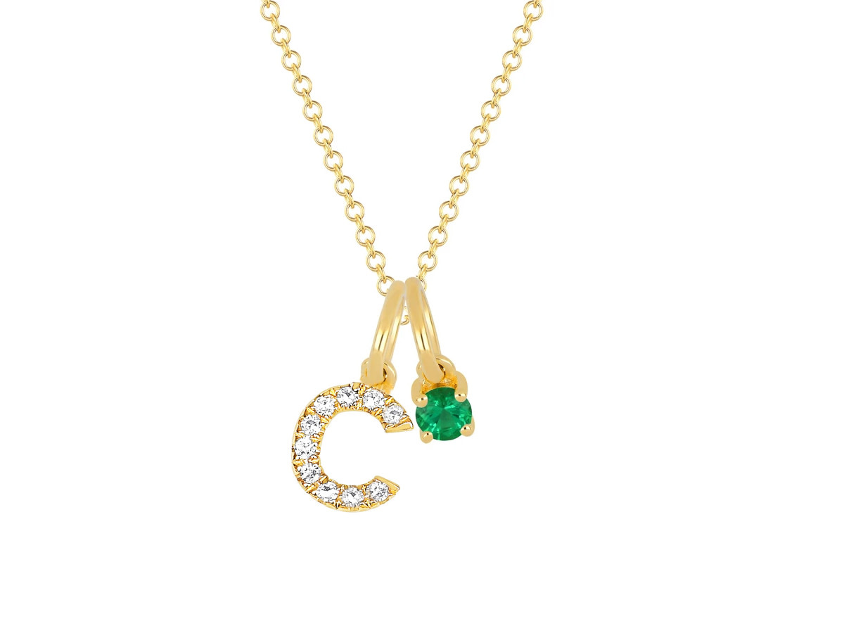 EF Collection Emerald Birthstone Initial Charm Necklace