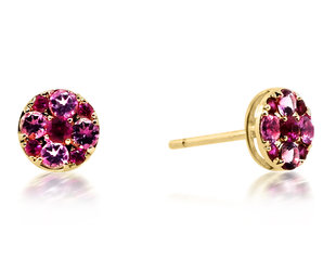 Beverley K Collection Ruby & Pink Tourmaline Earrings AB537