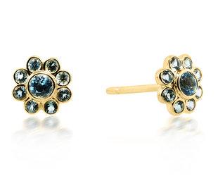 Beverley K Collection Blue Topaz Flower Earrings AB538