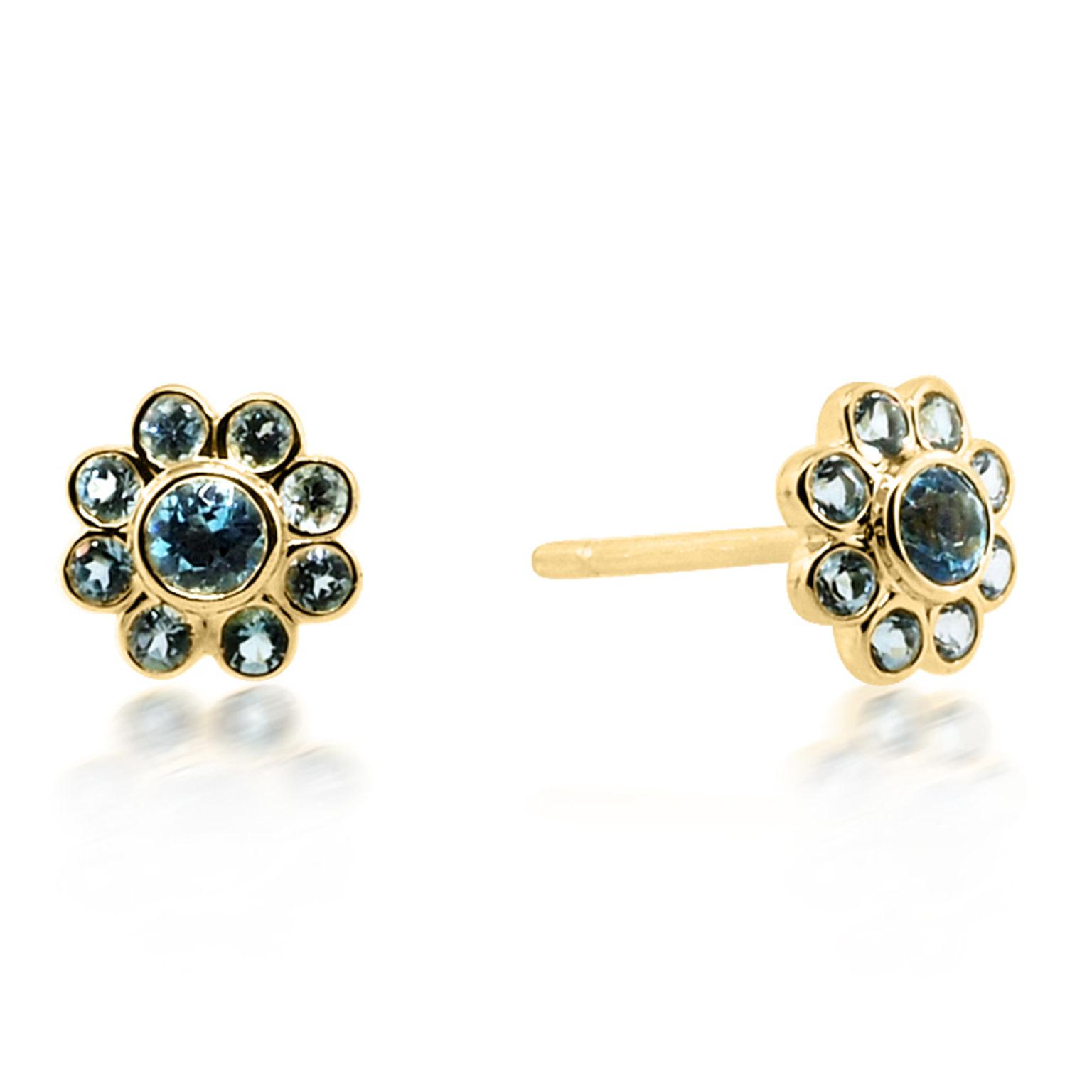 Beverley K Collection Blue Topaz Flower Earrings
