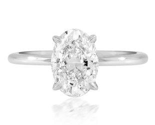 Trabert Goldsmiths 1.70ct HSI1 Oval Diamond Platinum Aura Ring E3098