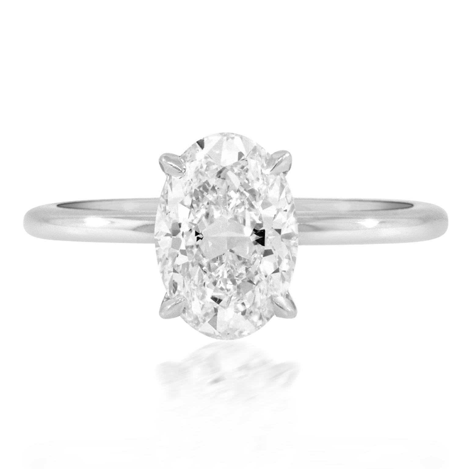 Trabert Goldsmiths 1.70ct HSI1 Oval Diamond Platinum Aura Ring