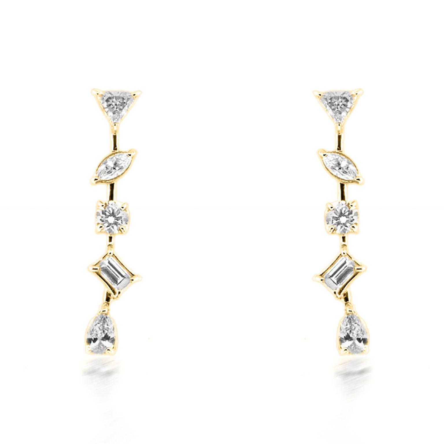 Trabert Goldsmiths Mixed Diamond Drop Earrings