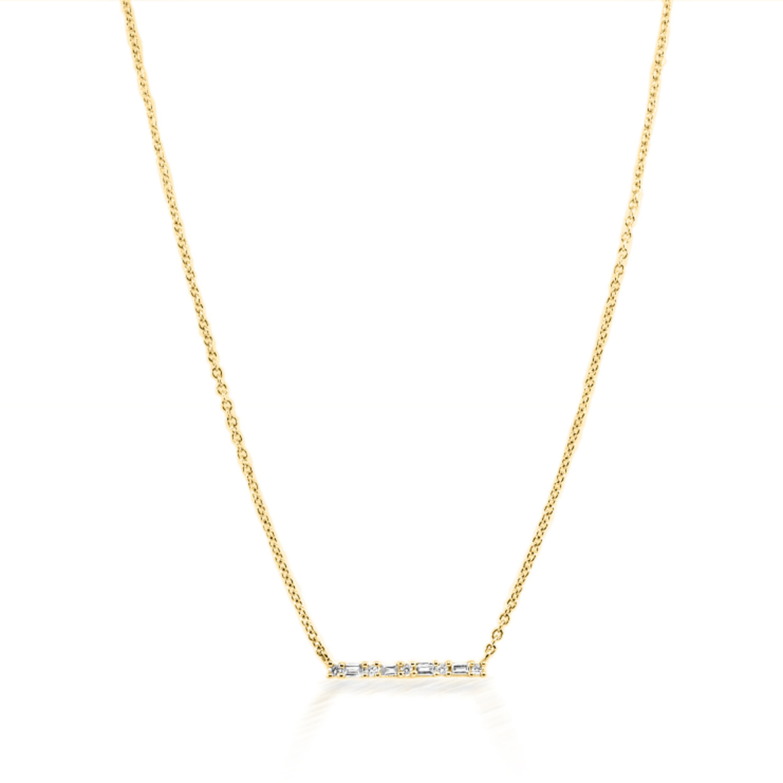 Trabert Goldsmiths Baguette and Round Diamond Bar Necklace