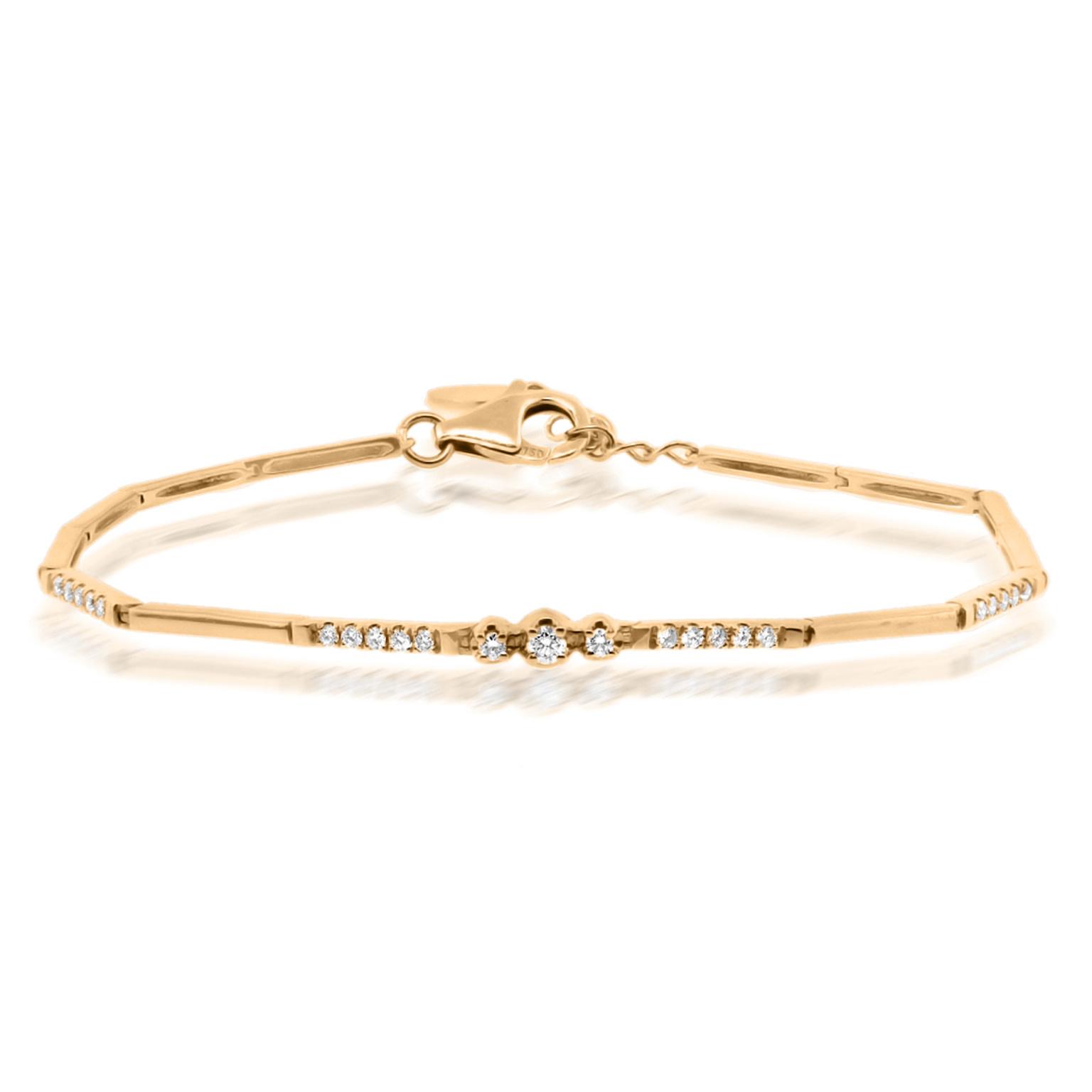 Trabert Goldsmiths Rose Gold Diamond Bar Bracelet