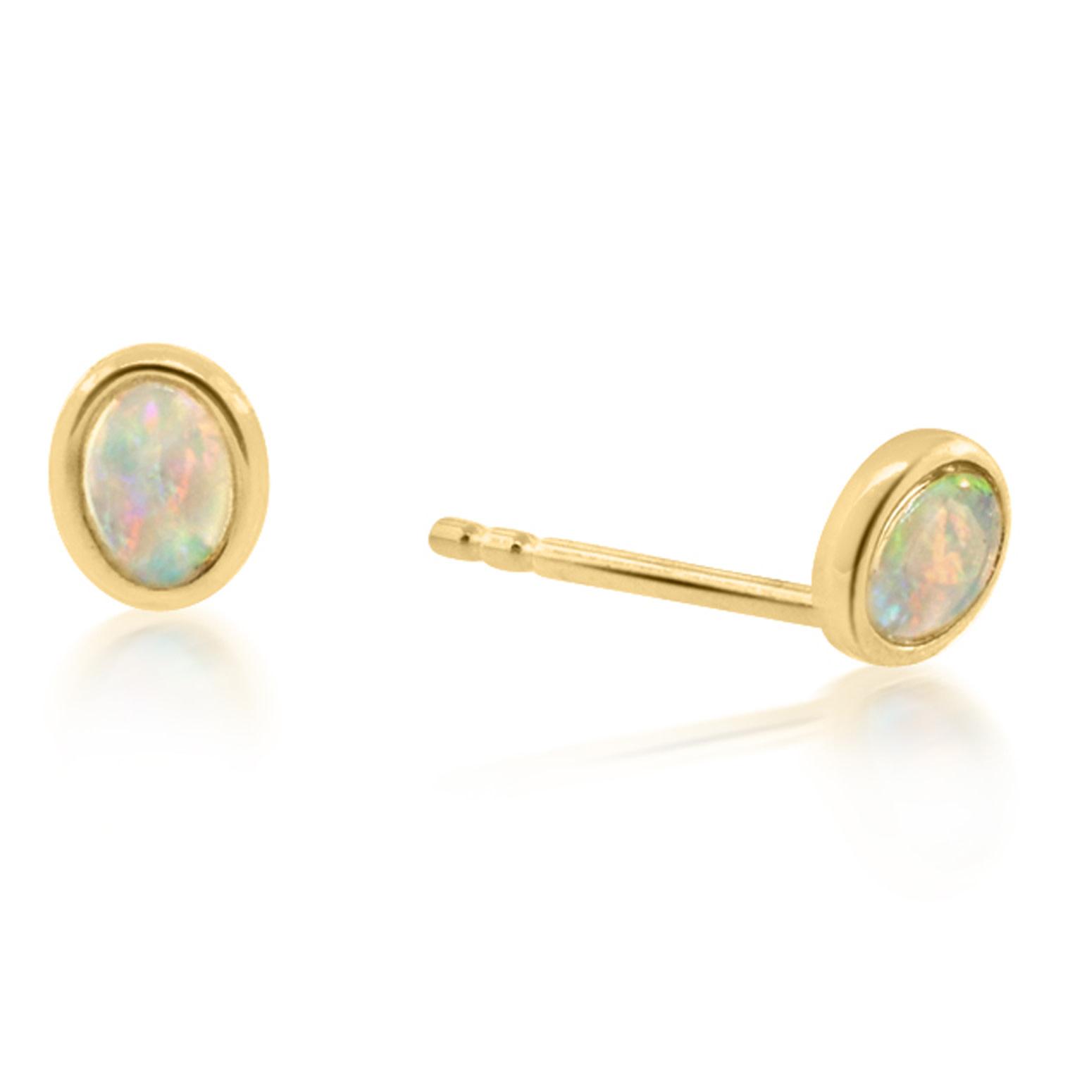 Trabert Goldsmiths Oval Opal Bezel Earrings