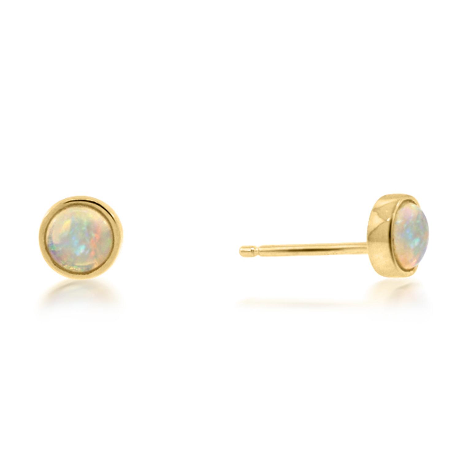 Trabert Goldsmiths Round Opal Bezel Earrings