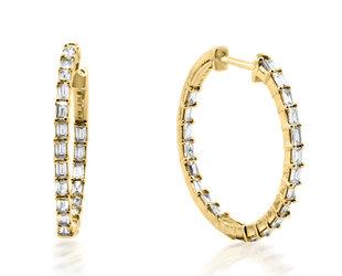 Trabert Goldsmiths Diamond Baguette Yellow Gold Hoops E3116