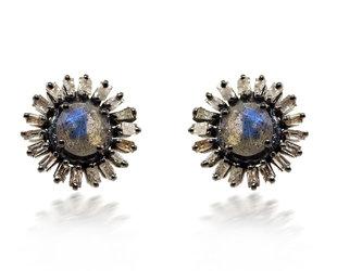 Trabert Goldsmiths Sterling Silver Labradorite & Diamond Earrings E3119