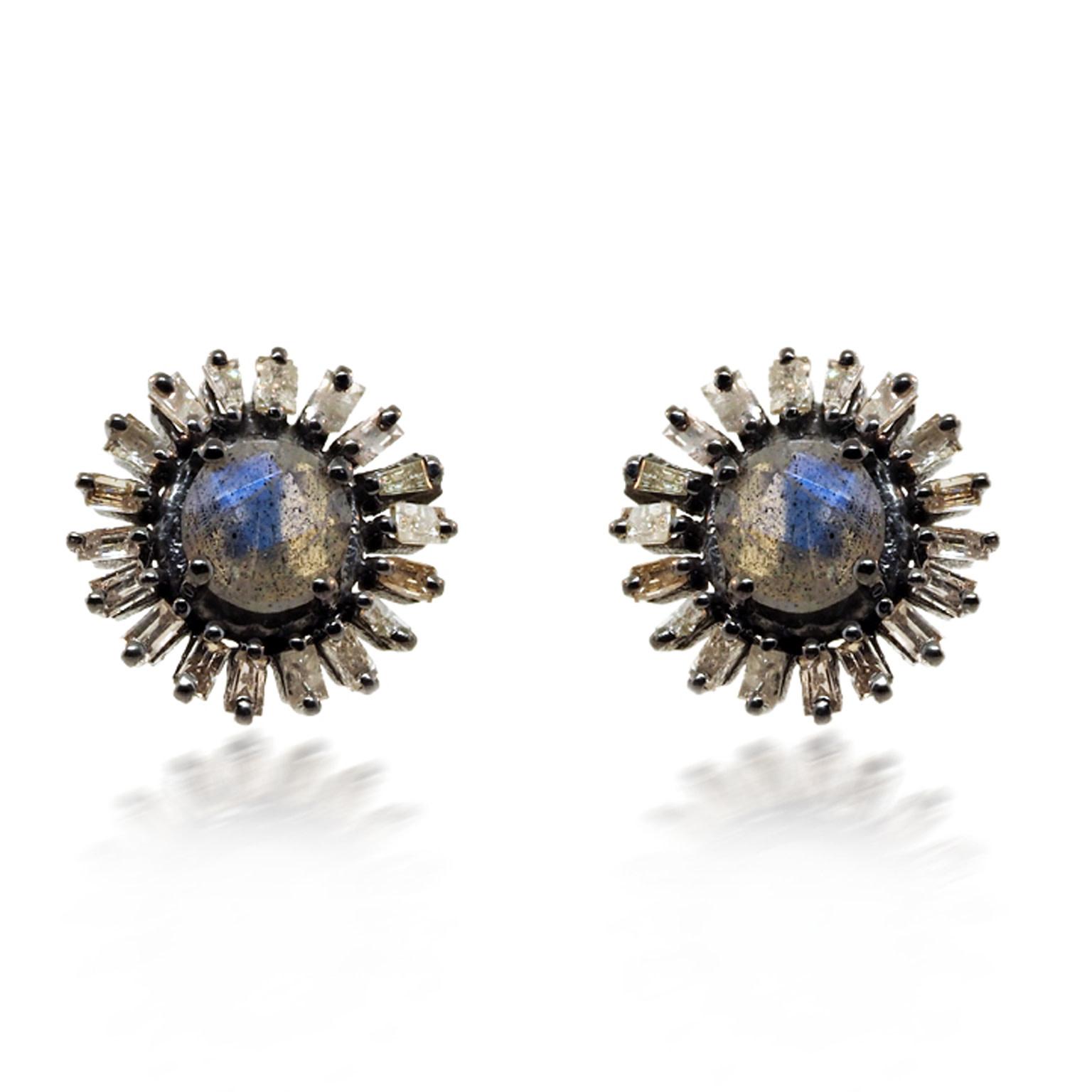 Trabert Goldsmiths Sterling Silver Labradorite & Diamond Earrings