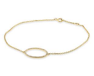 Trabert Goldsmiths Open Circle Diamond Yellow Gold Bracelet E3120