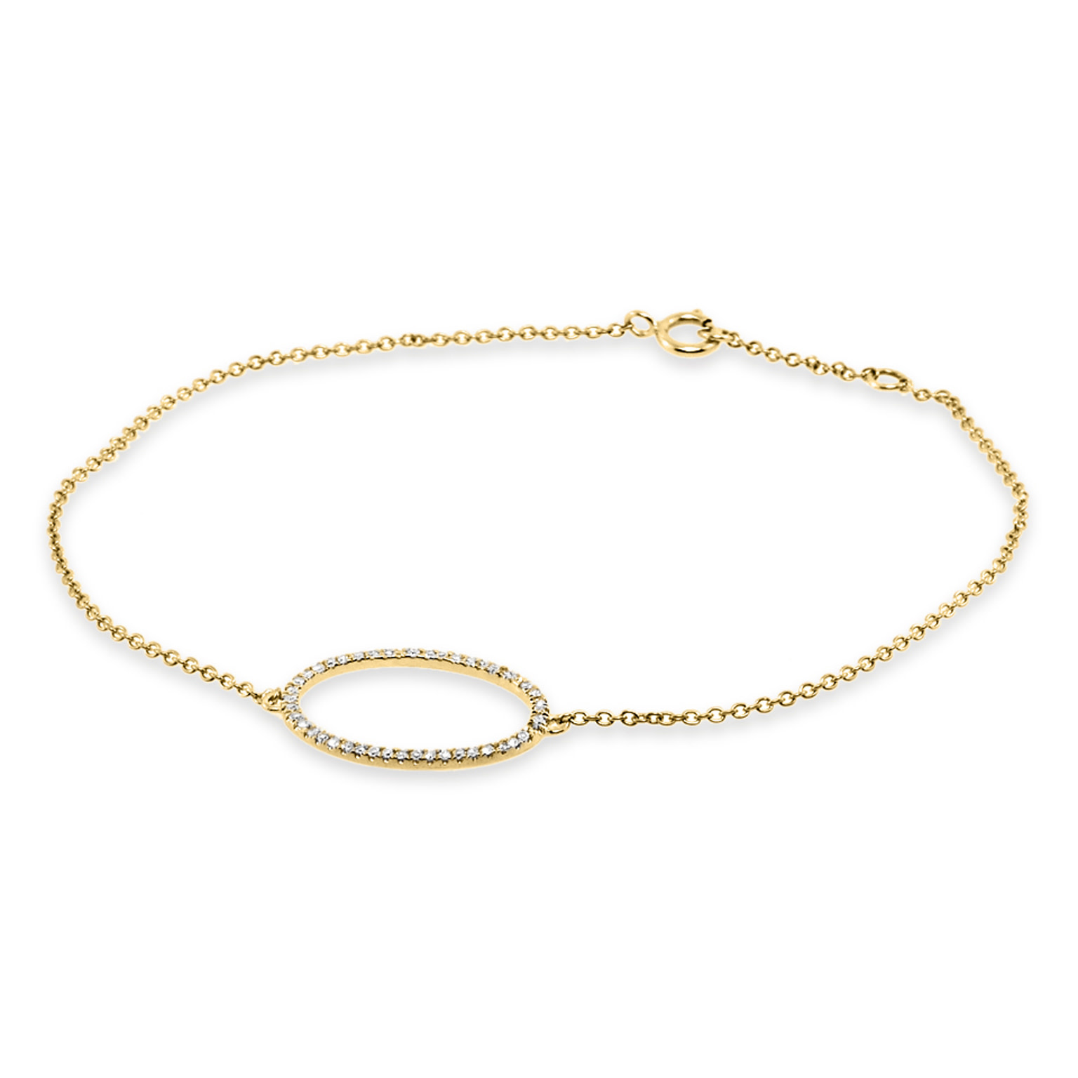 Trabert Goldsmiths Open Circle Diamond Yellow Gold Bracelet
