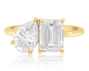 Trabert Goldsmiths Emerald and Pear Cut Moissanite Toi et Moi Ring E3123