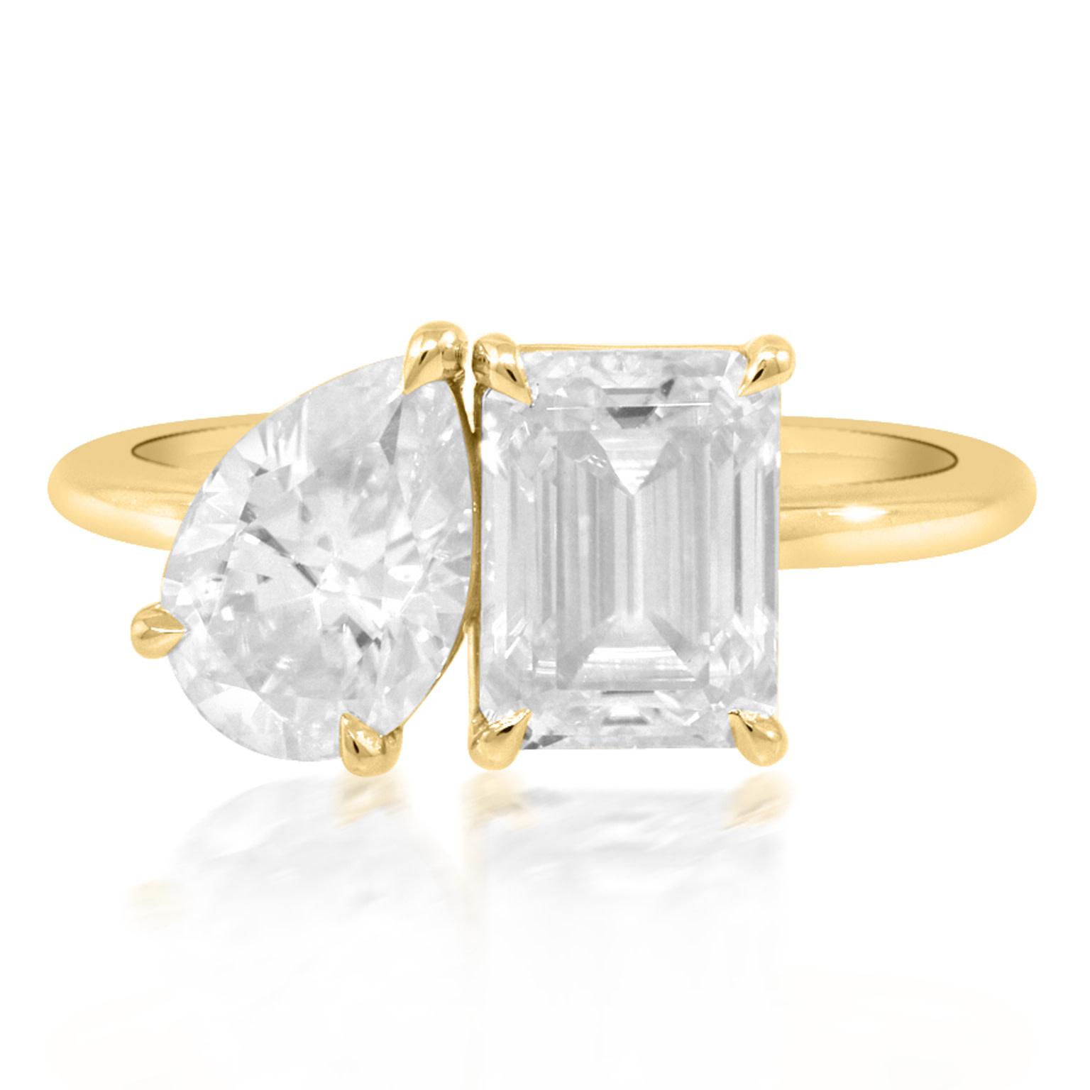 Trabert Goldsmiths Emerald and Pear Cut Moissanite Toi et Moi Ring