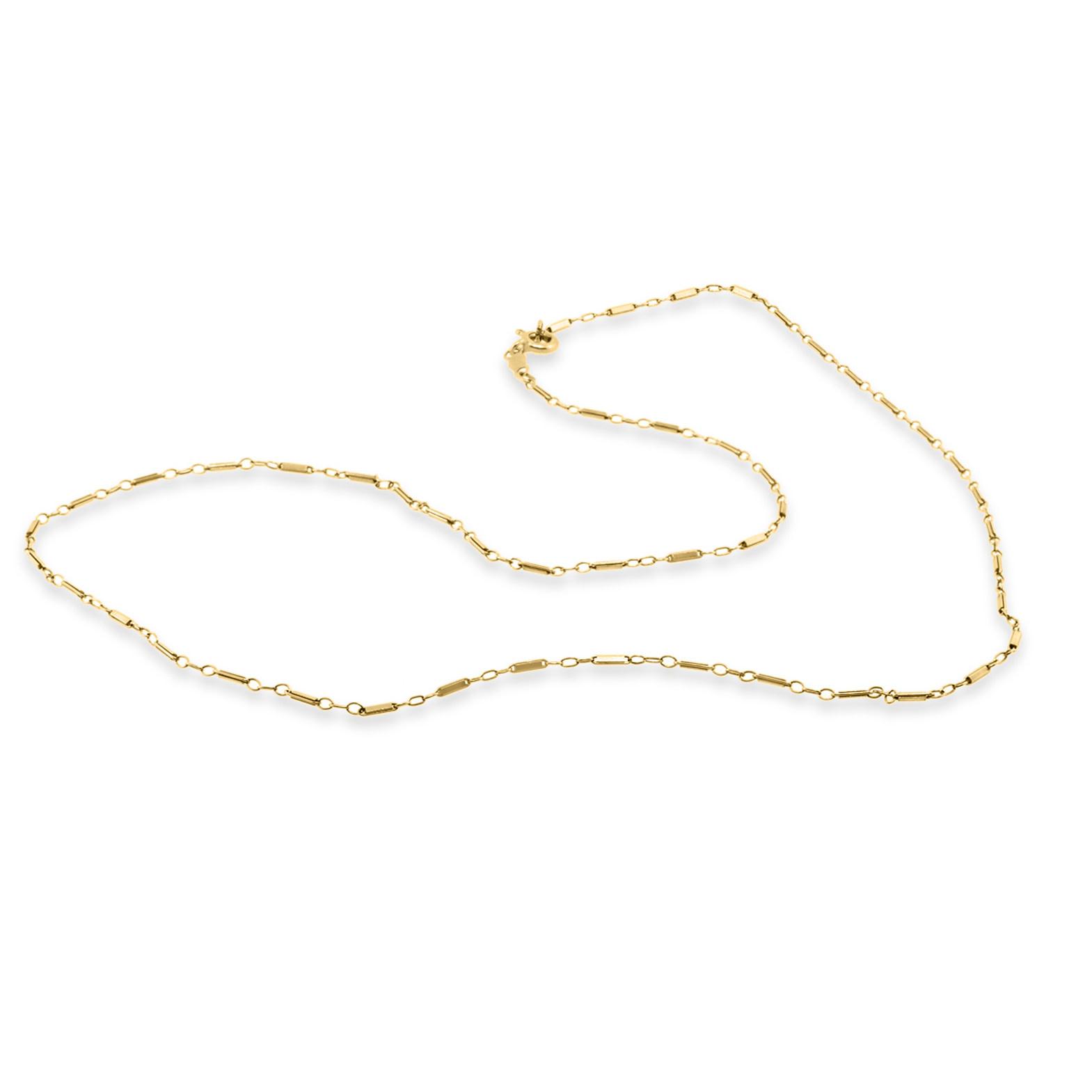 Trabert Goldsmiths Vintage Bar Link Yellow Gold Necklace