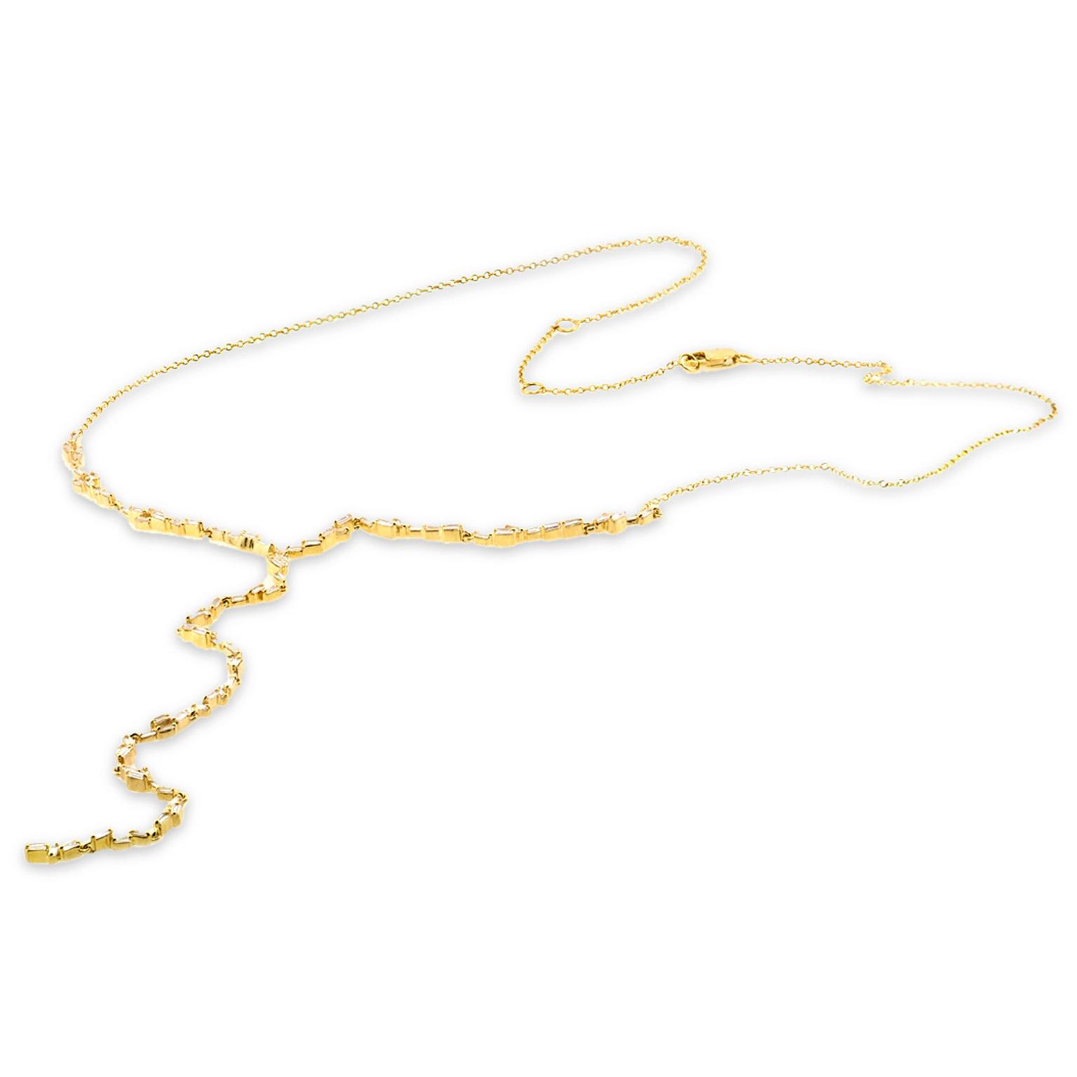 Trabert Goldsmiths Fancy Baguette Lariat Yellow Gold Necklace