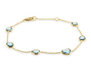 Trabert Goldsmiths Blue Topaz Bezel Set Yellow Gold Bracelet E3130