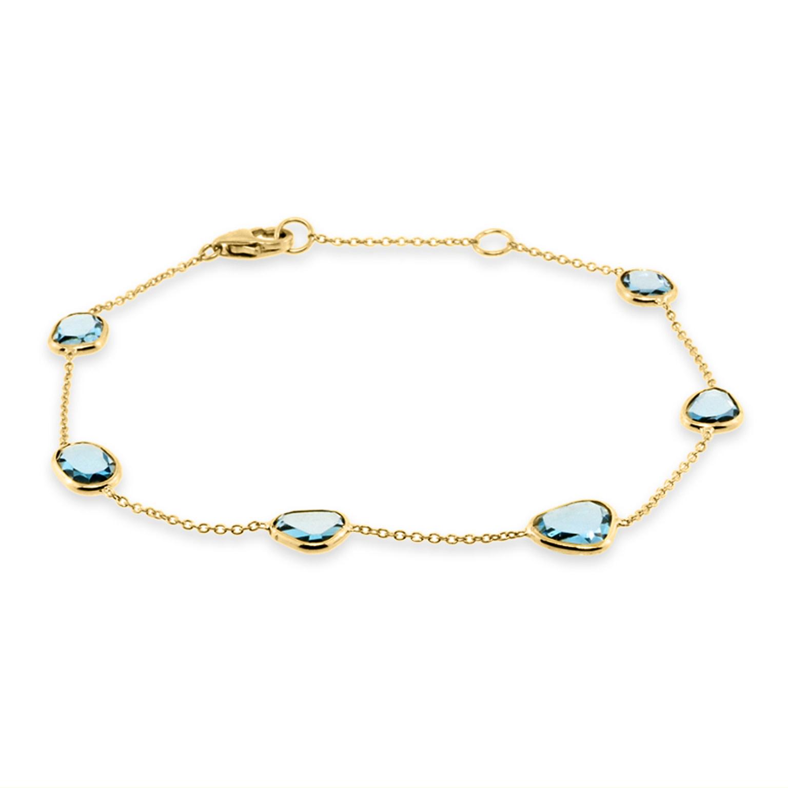 Trabert Goldsmiths Blue Topaz Bezel Set Yellow Gold Bracelet