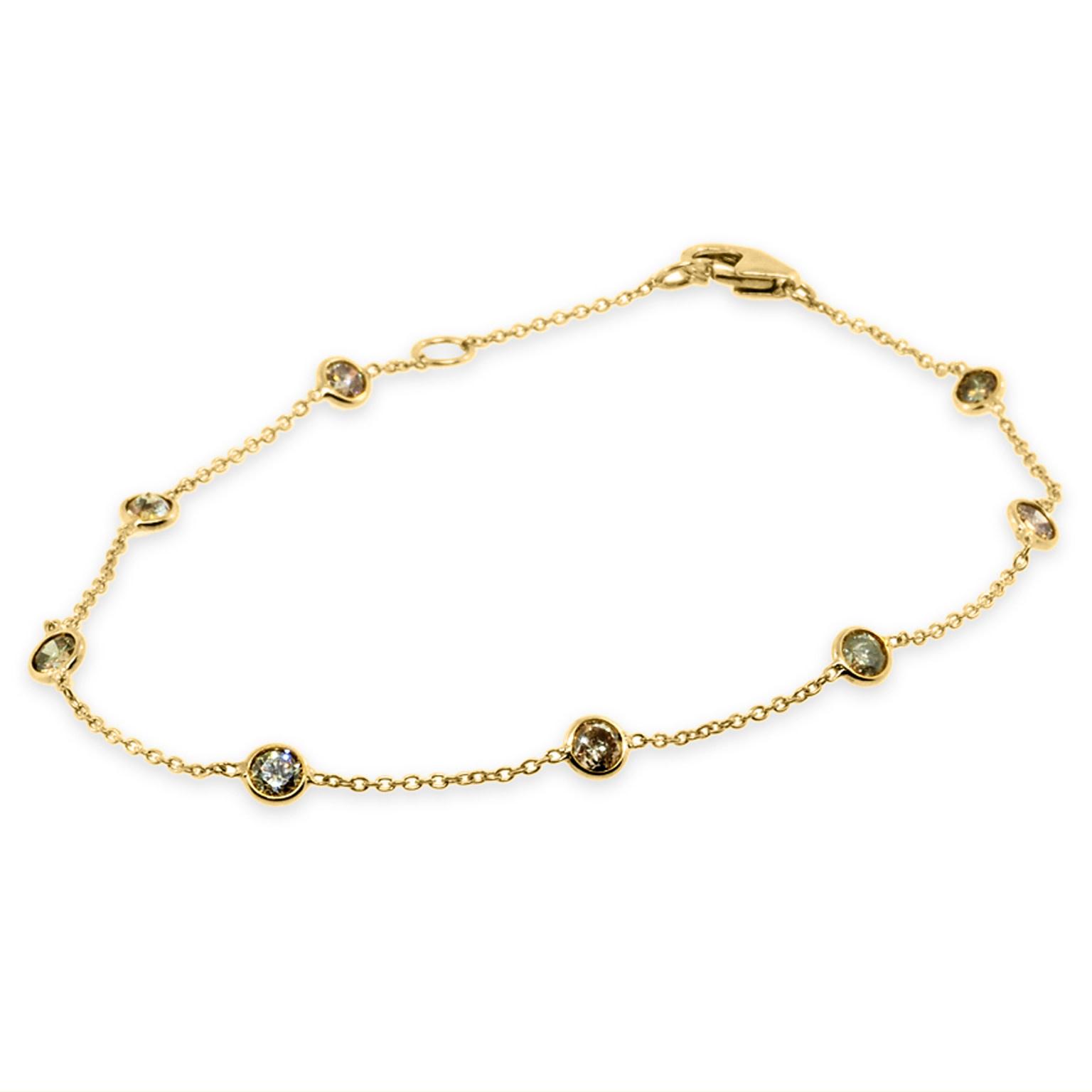 Trabert Goldsmiths Champagne Diamond Yellow Gold Bracelet