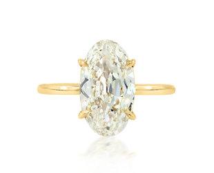 Trabert Goldsmiths 3.02ct LSI1 Antique Oval Diamond Aura Ring E3137