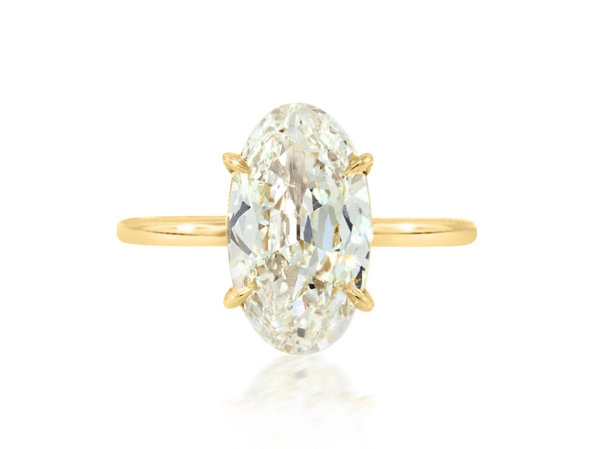Trabert Goldsmiths 3.02ct LSI1 Antique Oval Diamond Aura Ring
