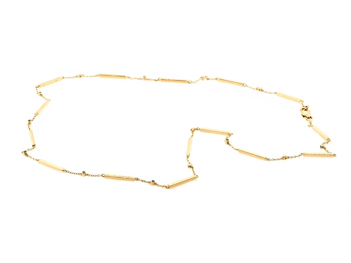 Trabert Goldsmiths Bar Link & Bezel Emerald Necklace