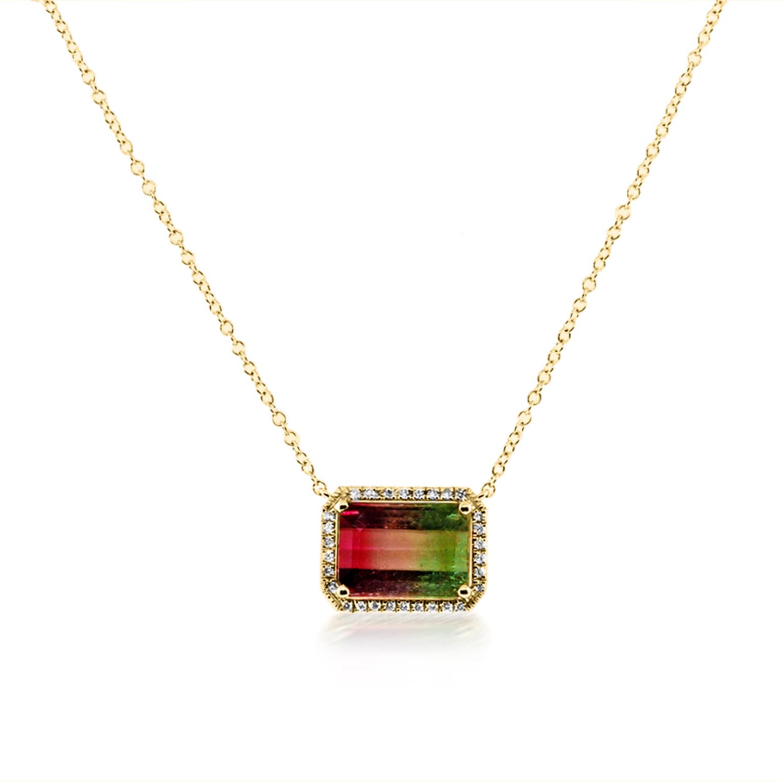 Bicolor Tourmaline and Diamond Necklace