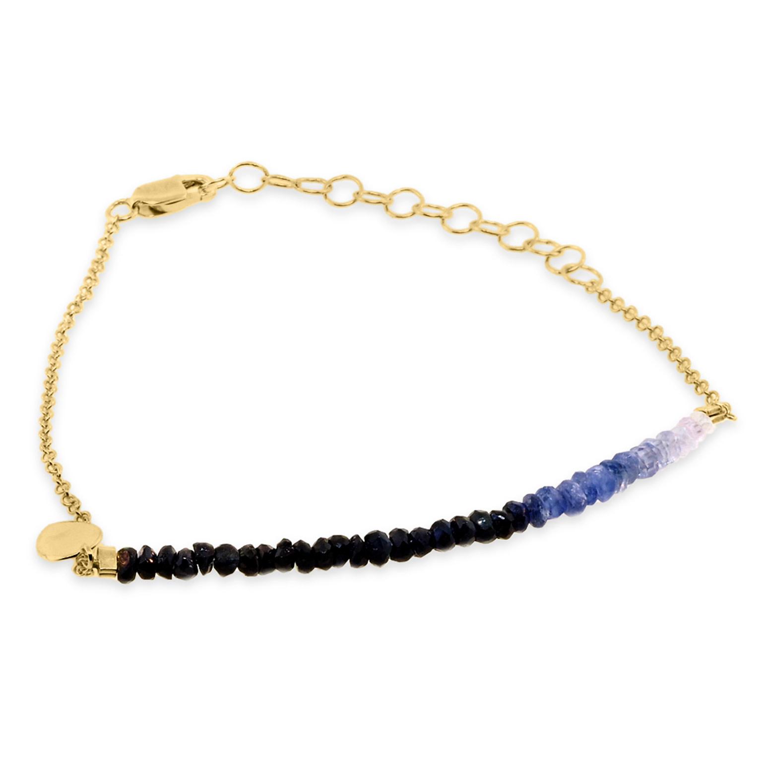 MeiraT Designs Ombre Sapphire Bead & Chain Bracelet