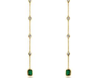 Trésor Emerald and Diamond Bezel Drop Earrings TR9