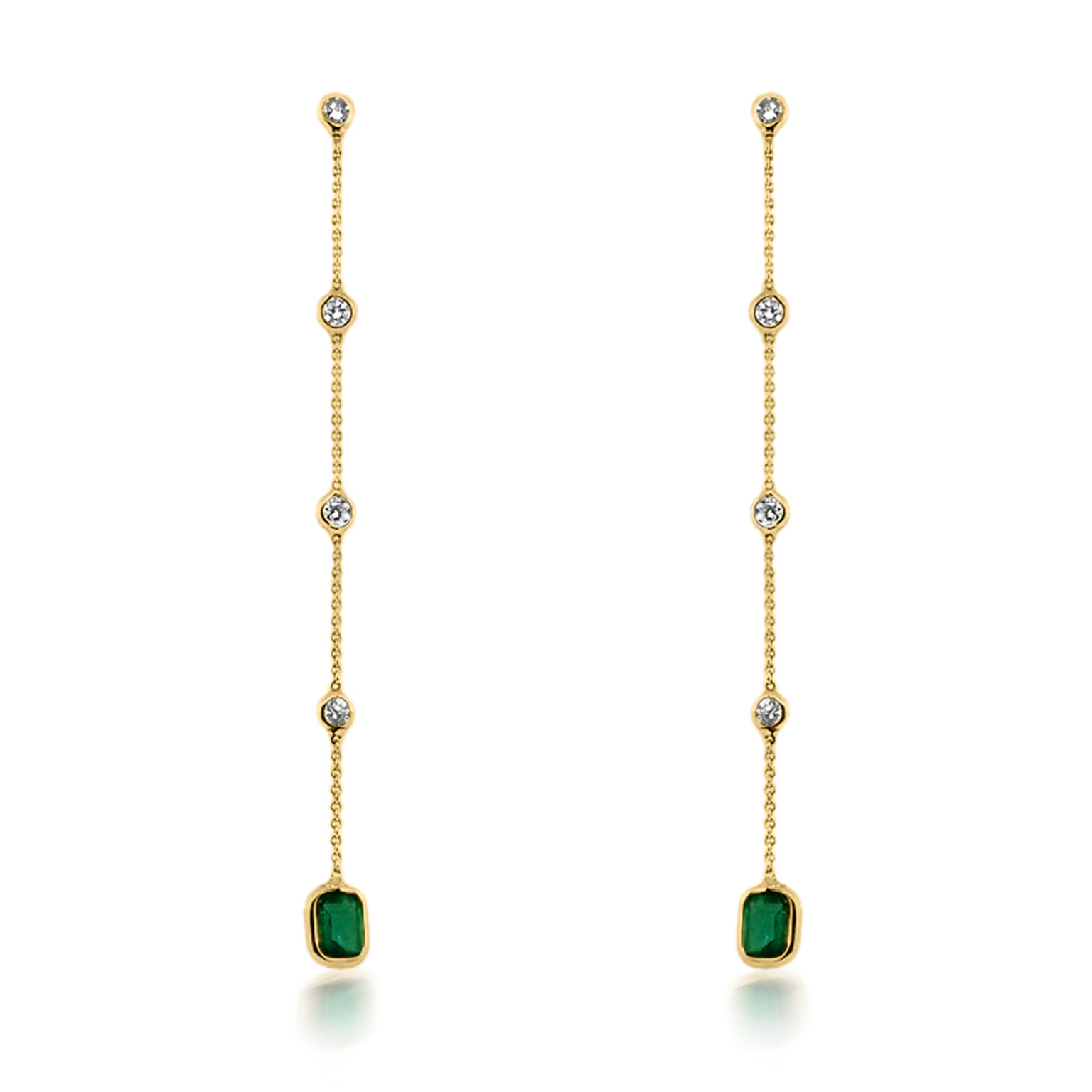 Trésor Emerald and Diamond Bezel Drop Earrings