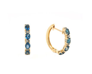 Beverley K Collection Blue Topaz Hoop Earrings AB545