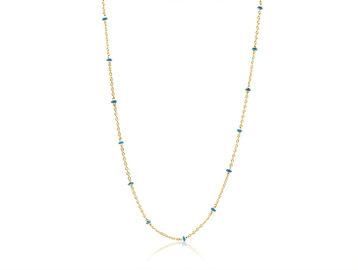 Trabert Goldsmiths Light Blue Enamel Bead Yellow Gold Necklace E3167