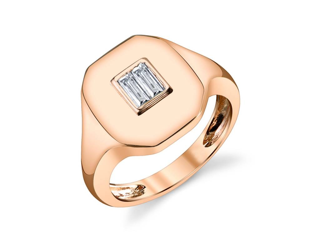 Shay Baguette Diamond Rose Gold Signet Ring