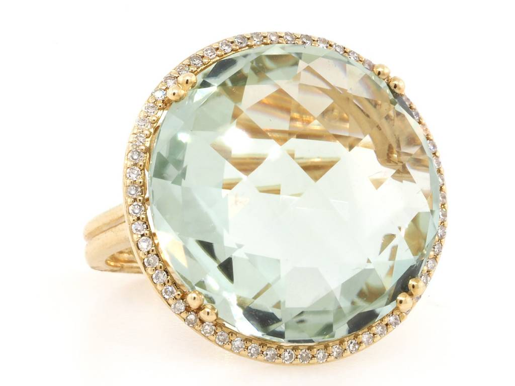 Trabert Goldsmiths Round Green Amethyst and Pave Diamond Ring