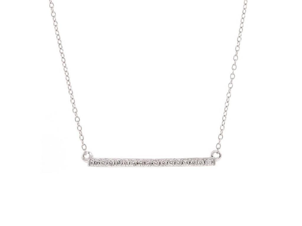 Trabert Goldsmiths White Gold Diamond Bar Necklace