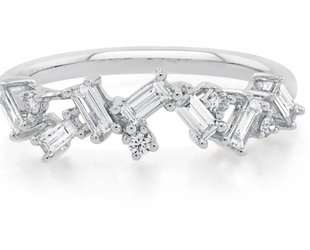 Trabert Goldsmiths White Gold Organic Baguette Dia Ring E1308