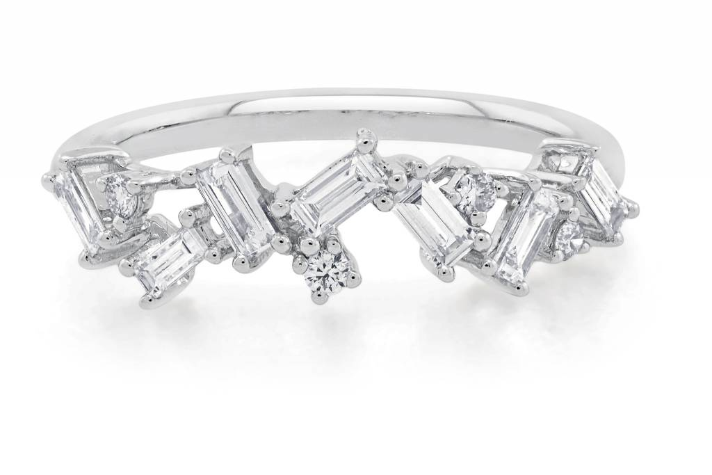 Trabert Goldsmiths White Gold Organic Baguette Diamond Ring