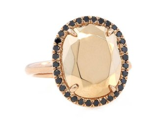 Trabert Goldsmiths Faceted Gold Cushion Ring With Bl Dia E1419