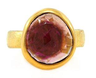 Trabert Goldsmiths Bezel Set Pink Tourmaline Ring E1324