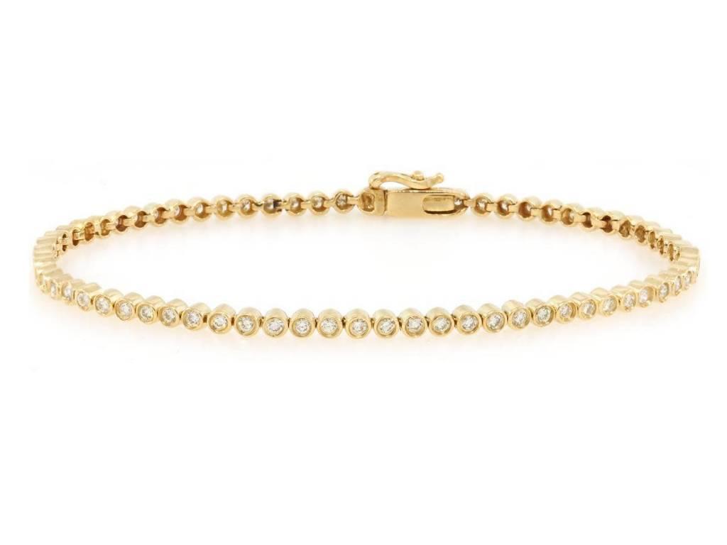 Bezel Set Gold Diamond Tennis Bracelet